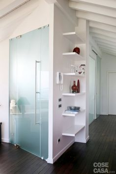 & & & & Volumes of white in the attic to have more light Divider Design, Door Design, House Design, Attic Renovation, Massage Room, Kitchen Cupboards, Glass Door, Tall Cabinet Storage, Sweet Home