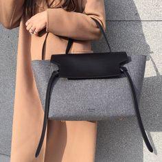 Céline Tie bag in grey felt - Minimal + Chic | @codeplusform