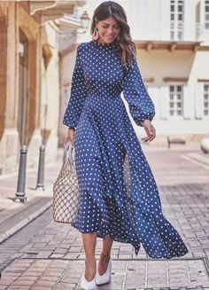 54 Winter Dresses To Inspire Daily Fashion Outfits Maxi Dress With Slit, Dot Dress, Dress Skirt, Dress Up, Shirt Dress, Modest Fashion, Fashion Dresses, Dress Outfits, Casual Dresses