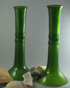 Candlestick holders out of wine bottles