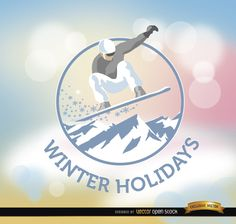 Background for winter holidays showing a round label with a man doing snowboarding above some pastel colors and spots of light. It's perfect for sending best wishes during winter holidays. High quality JPG included. Under Commons 4.0. Attribution License.