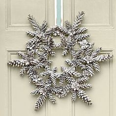 This white Snowy Pinecone Wreath from Southern Living would look awesome on my red front door! {wreath for January} Crafts Snowy Pinecone Wreath Noel Christmas, All Things Christmas, Winter Christmas, Christmas Wreaths, Christmas Decorations, Magical Christmas, Snowflake Decorations, Christmas Crafts With Pinecones, Christmas Windows
