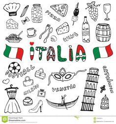 Doodle Hand Drawn Collection Of Italy Icons. Italy Culture Elements For Design…