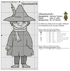 Bilderesultat for moomin cross stitch pattern Beaded Cross Stitch, Cross Stitch Embroidery, Embroidery Patterns, Knitting Charts, Knitting Patterns, Crochet Patterns, Cross Stitch Designs, Cross Stitch Patterns, Les Moomins