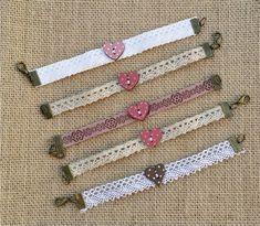 Diy Fabric Jewellery, Fabric Bracelets, Lace Jewelry, Bead Jewellery, Gothic Jewelry, Jewelry Crafts, Flower Embroidery Designs, Fabric Beads, Imitation Jewelry