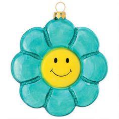 Aqua Flower With Smile Face Ornament - Bronner's CHRISTmas Wonderland $6.99