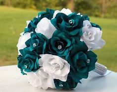 2pc Set Dark Teal White Bridal Wedding Wows Renewal Prom Bouquet Boutonniere | eBay