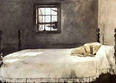 Andrew Wyeth, Master Bedroom, 1965 Just bought this in Pennsylvania because it looks so much like my English Setter fast asleep on my bed <3