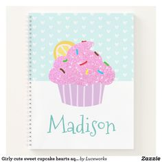 Girly cute sweet cupcake hearts aqua modern school notebook