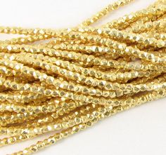 2mm Nugget Beads Rounded Square Gold Vermeil over Solid