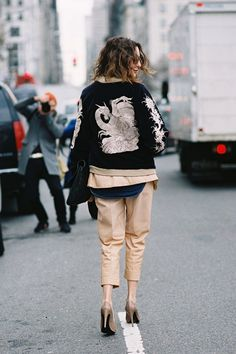 Who What Wear Blog 11 Ways To Style An Embroidered Bomber Jacket Fashion Week Street Style Via Vanessa Jackman