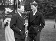 American statesman John F Kennedy, later the 35th President of the United States (right), with Mr Borhum at a garden party at the White House, Washington DC.   (Photo by Fox Photos/Getty Images)                                     via @AOL_Lifestyle Read more: http://www.aol.com/article/2016/03/15/jackie-kennedys-lookalike-granddaughter-rose-schlossberg-laun/21328144/?a_dgi=aolshare_pinterest#slide=3495995|fullscreen
