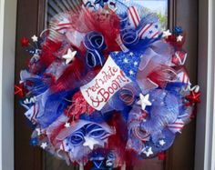 Red White & Boom Patriotic Poly Deco Mesh Wreath, July Memorial Day, Red/White/Blue/Silver, Wreath, Holiday by AllSeasonsCT on Etsy Red White And Boom, Red White Blue, Blue And Silver, Patriotic Wreath, 4th Of July Wreath, Santa Wreath, Door Wreath, Military Wreath, Memorial Day Wreaths