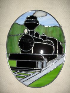 """Train's a Comin'"" custom stained glass window by www.etsy.com/shop/stainedglassyourway"