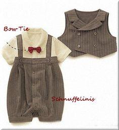 tuxedo Baby onesie seersucker 3pcs Tuxedo with von Schnuffelinis.de