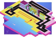1980s style isometric race track design. Inspired by GTA Vice City.