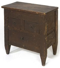 EARLY PRIMITIVE MINIATURE CHEST W/ OLD BROWN PAINT