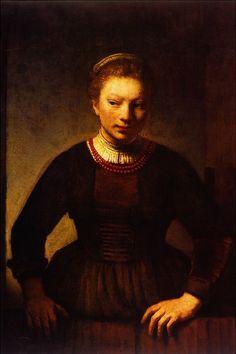 Rembrandt Harmenszoon van Rijn - Girl at an Open Half-Door