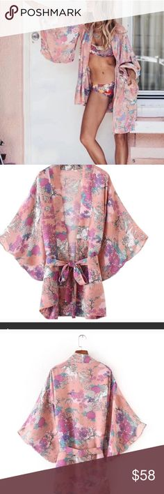"""Pink Bohemian Kimono With Horse & Floral Pattern Gorgeous bohemian style kimono with all over floral and horse pattern. Sort of a dusty pink color in person. Made of polyester. One size fits most. Armpit to armpit (taken from back) 22"""", about 32"""" length. Measurements may have a slight variance since they were taken manually while laying flat. #9011701-2 Swim Coverups"""