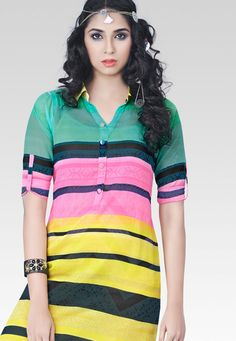 """""""#Fashion is a language that creates itself in #clothes to interpret reality."""" Multi #Color Chiffon Designer Top"""