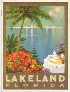 Lakeland, Florida - Looks like Lake Mirror became an ocean. :)  - vintage Florida 1920's