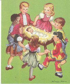 Vintage Christmas Card Pelagie Doane Children of the World Baby Jesus in Manger   eBay