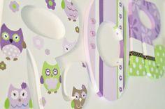 Purple Lavender Green and Brown Owl Wonderland by KraftinMommy