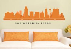 "SAN ANTONIO TEXAS Skyline Wall Decal Art Vinyl Removable Peel n Stick up to 70"" x 18"" Living Room Office Business Decor City on Etsy, $29.99"