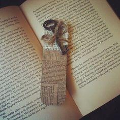 Handmade Bookmark - Antique - Burlap with Twine and Old Antique Skeleton Key. $12.00, via Etsy.