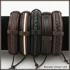 Handmade Leather Hemp Wrap Bracelet 5 Piece by BraceletStreetUSA, $13.95