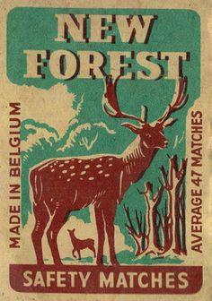 New Forest - Matchbox label Forest Art, New Forest, Forest Logo, Vintage Packaging, Vintage Labels, Matchbox Art, Vintage Lettering, Hand Lettering, Forest Illustration