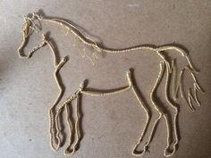 Wire Horse Ornament, Silver and Gold, Arabian, Balius