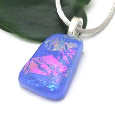 Periwinkle Fused Glass Pendant with Dichroic Glass in Pink Blue Peach | ResetarGlassArt - Jewelry on ArtFire