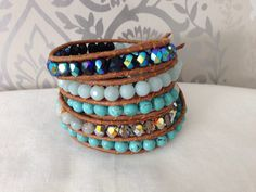 """Heal me"" wrap bracelet with turqouise , Amazonit and czech beads."