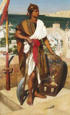 Edward John Poynter, (British, 1836-1919)  |  On Guard in the Time of Pharaohs, 1864
