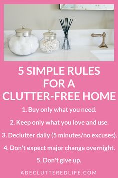 "The most important action you can take to finally achieve a clutter-free home and life is to declutter daily. You may not have 15 or 20 minutes every day but you CAN commit to 5 minutes of daily decluttering. ""What you do every day matters more than what you do once in a while"" - Gretchen Rubin. Your home did not get cluttered overnight and you cannot declutter it overnight. But small consistent steps taken DAILY will quickly result in noticeable change around your home. #declutter #simple"