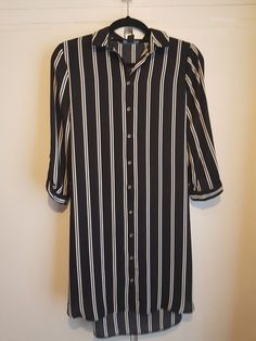 Women s Primark Size 12 Black and White Striped Shirt Dress - Used  fashion   clothing f94f33a11