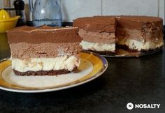 Triplacsokis sajttorta DuCsitől | NOSALTY Hungarian Cake, Hungarian Recipes, Hungarian Food, Gelatine, What You Eat, Cheesecakes, Cake Cookies, Tiramisu, Food And Drink