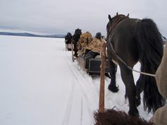 Sleigh ride over a lake somewhere in Dalarna, Sweden
