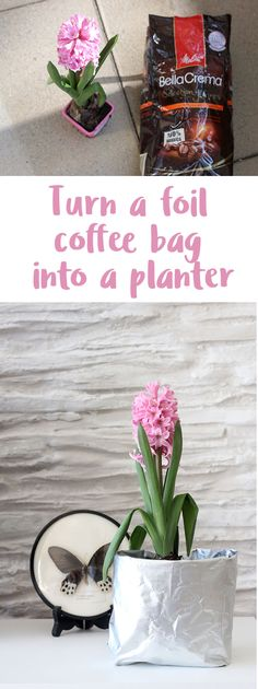 How to recycle and upcycle empty coffee bags: Let me show you how to turn foil coffee bags into DIY planters for inside and outside.