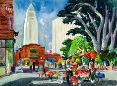 California watercolor by Millard Sheets, Olvera Street, 1951