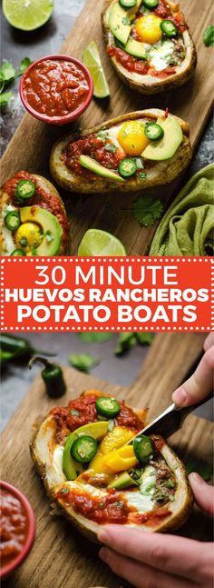 30 Minute Huevos Rancheros Potato Boats. Potato skins meet Mexican breakfast in this delicious and easy recipe featuring eggs, refried beans, cheese, salsa, avocado, and crisp potatoes. | http://hostthetoast.com