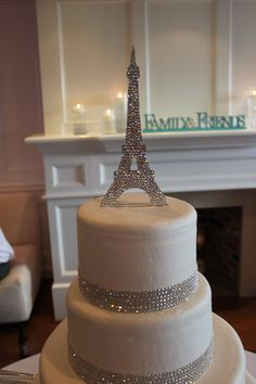 Eiffel Tower Custom Cake Topper Fully covered with SWAROVSKI ELEMENTS CLEAR Crystals. $100.00, via Etsy.