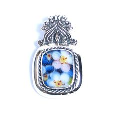 Broken China Jewelry - Bavarian Blue Forget Me Nots - Sterling Silver Pendant $78
