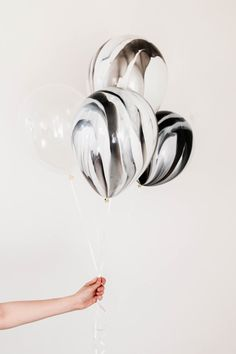 Black and White Marble Balloon Set Clear Confetti by BlushBazaar