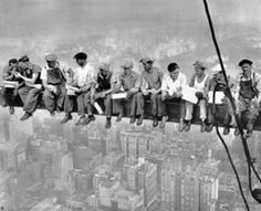 Lunch atop a Skyscraper (New York Construction Workers Lunching on a Crossbeam) is a famous photograph taken by Charles C. Ebbets during construction of the GE Building at Rockefeller Center in 1932. (Photographer: Charles C. Ebbets)