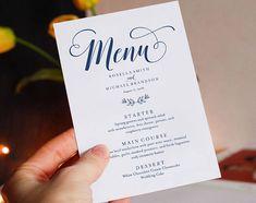 Wedding Menu Template by WeddingPrintablesCo on Vow Renewal Invitations, Passport Invitations, Kraft Wedding Invitations, Wedding Menu Template, Wedding Invitation Templates, Menu Templates, Design Templates, Invitation Design, Invites