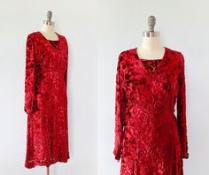 Adorable late 1920s, early 1930s dress in luxurious burnout maroon silk velvet and chiffon. Features long sleeves with pointed ends and snaps