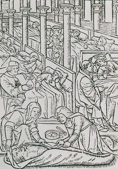 A-woodcut-if-medical-treatment-in-hte-Order's-early-hospital