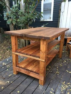 Furniture Ideas Simple Carpenter Made Rectangular Open Shelving Butcher Block Rustic Kitchen Island Outdoor Deck Views Imposing Rustic Kitchen Island In Contemporary Styles And Designs